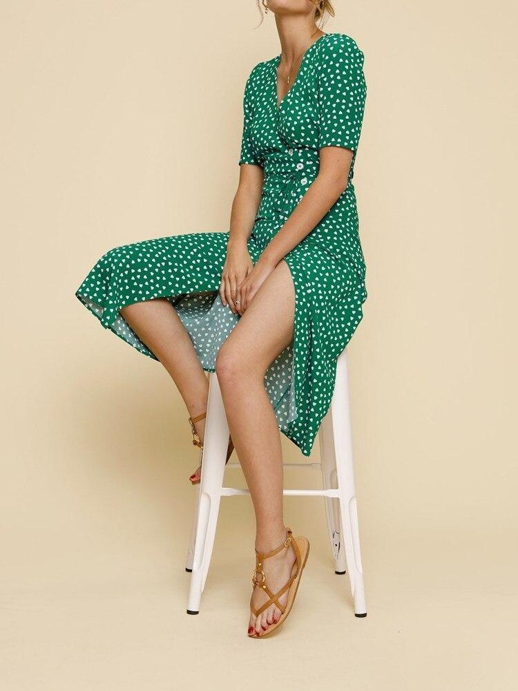 새로운 여름 여성 미디 드레스 프랑스어 튜닝 원피스 랩 클래식 중간 숙녀 긴 드레스 짧은 소매 붉은 마음 인쇄-에서드레스부터 여성 의류 의  그룹 3