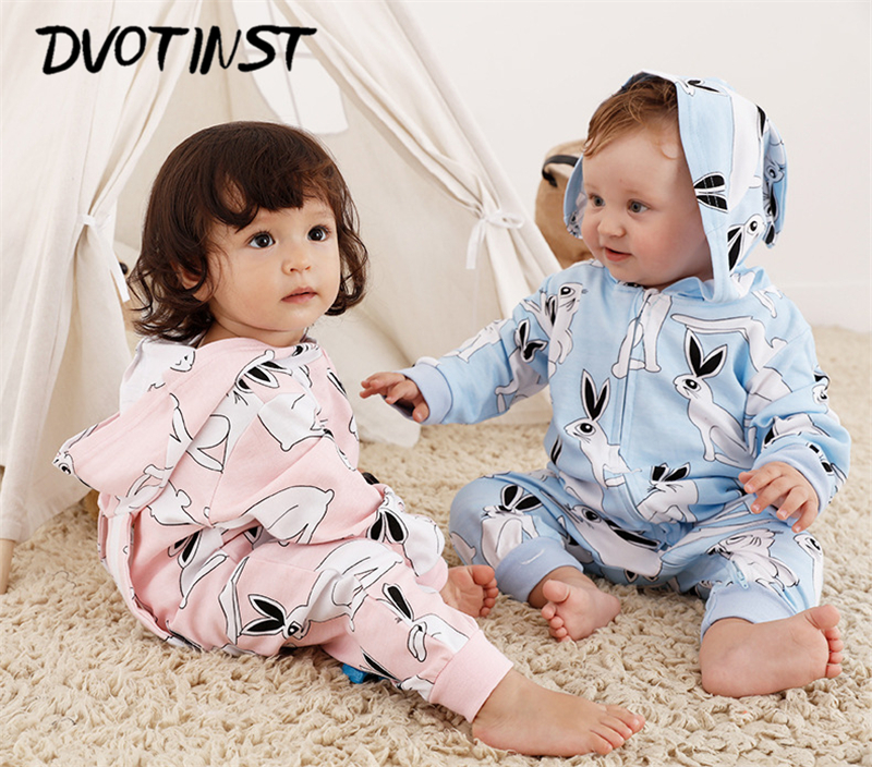 Dvotinst Baby Boys Girls Cotton Rabbit Hooded Rompers Halloween Purim Clothes Outwear Outfits Infantil Toddler Jumpsuit Costume maggie s walker baby rompers outfits boys long sleeve banana luxury organic cotton climb clothes toddler girls roupa infantil