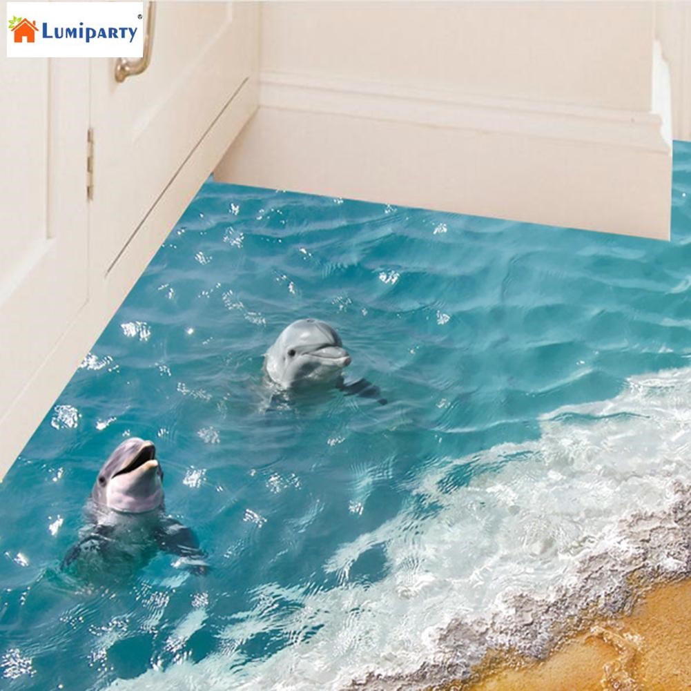 Lumiparty 3d Blue Sea Floor Sticker Beach Wall Sticker Waterproof Removable Mural Decals For