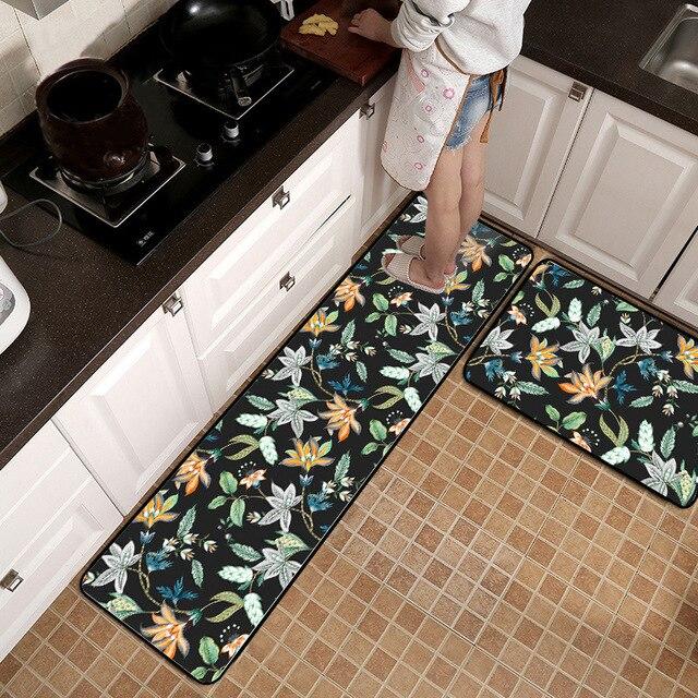 Enjoyable Us 22 04 24 Off American Style Flower Black Kitchen Mat Wooden Floor Mat Bedroom Bedside Strip Rug Non Slip Door Mat Printing Plush Carpet In Mat Interior Design Ideas Clesiryabchikinfo