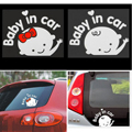 hot New 3D Cartoon Car Stickers Reflective Vinyl Car Styling Baby In Car Warming Car Sticker Baby on Board On Rear Windshield