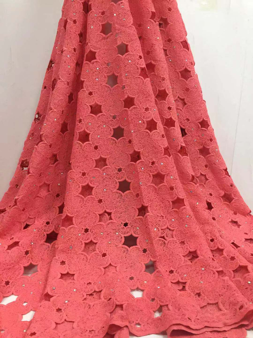 5yards/lot High quality nigerian wedding african lace fabrics/most popular guipure cord lace fabric for wedding dress FC17 TEC-in Lace from Home & Garden    1