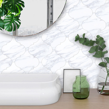 10pcs/set White Marble Style Lantern Shape Floor Sticker Adhesive Waterproof Wallpaper for Livingroom Bedroom Home Decoration