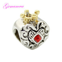 d58767c53 Golden Crown love charm beads red square crystal amulet original brand  design jewelry Fit Pandora Bracelet Necklace