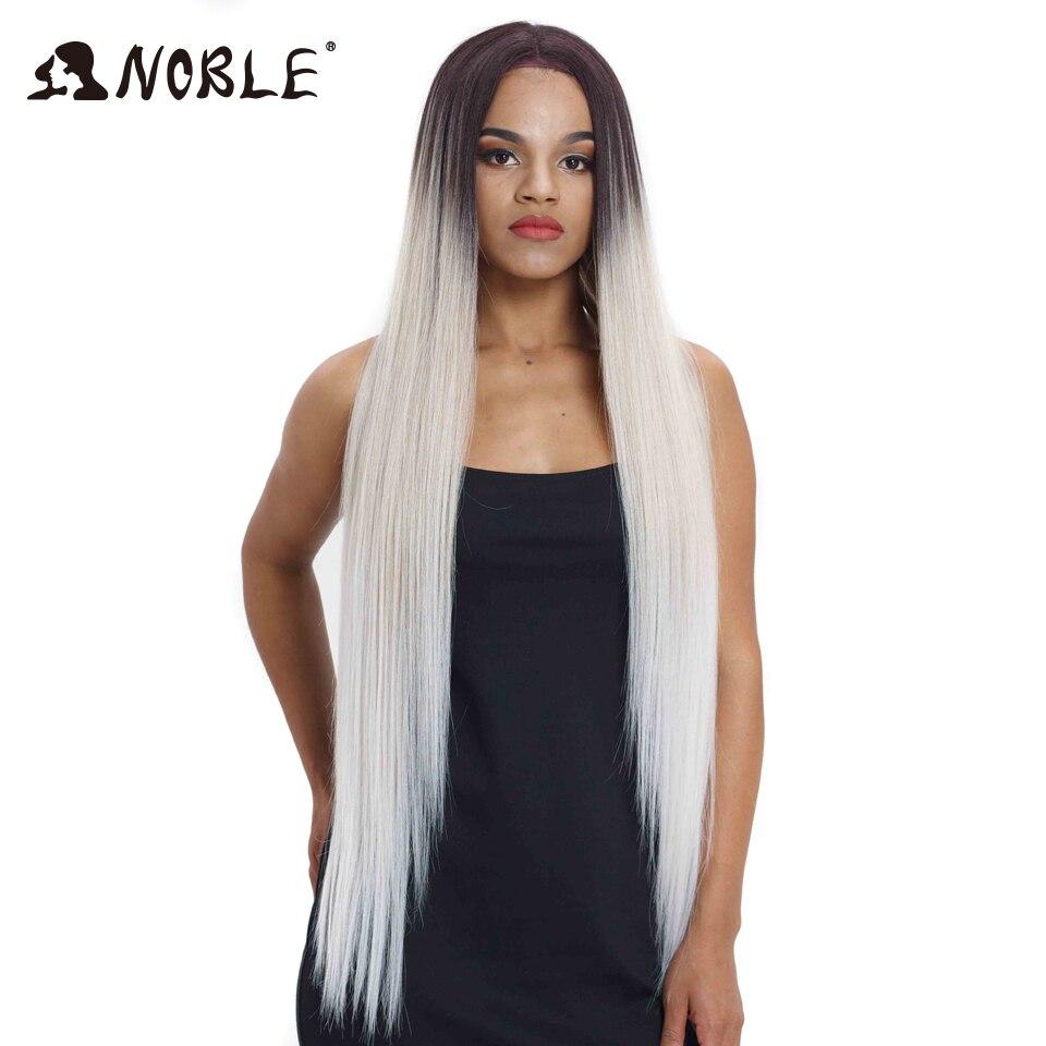 Благородный волос парики для черный Для женщин Прямо Синтетические волосы на кружеве волос 38 дюймов Ombre Синтетические волосы на кружеве пар...