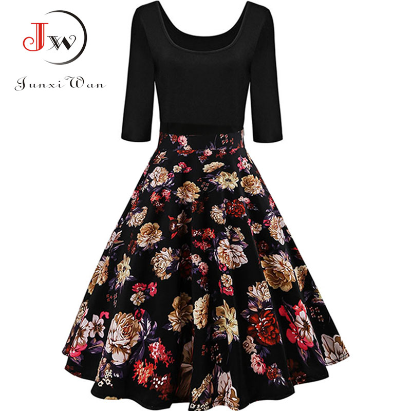 2019 New Causal Evening Party Dress Womens Floral Vintage Dress Elegant Midi Evening Dress 3//4 Sleeves