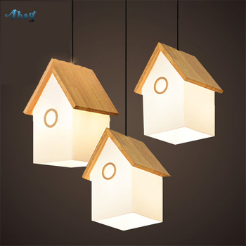 Nordique Creative verre petite maison forme pendentif lumières pour salon enfants chambre décor à la maison en bois suspension lampe Led E14