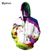 Qybian 2017 New Spring Autumn Men's Jackets Rainbow Horse print Fashion Brand Clothing Casual Loose Jackets Cardigan Zipper Coat