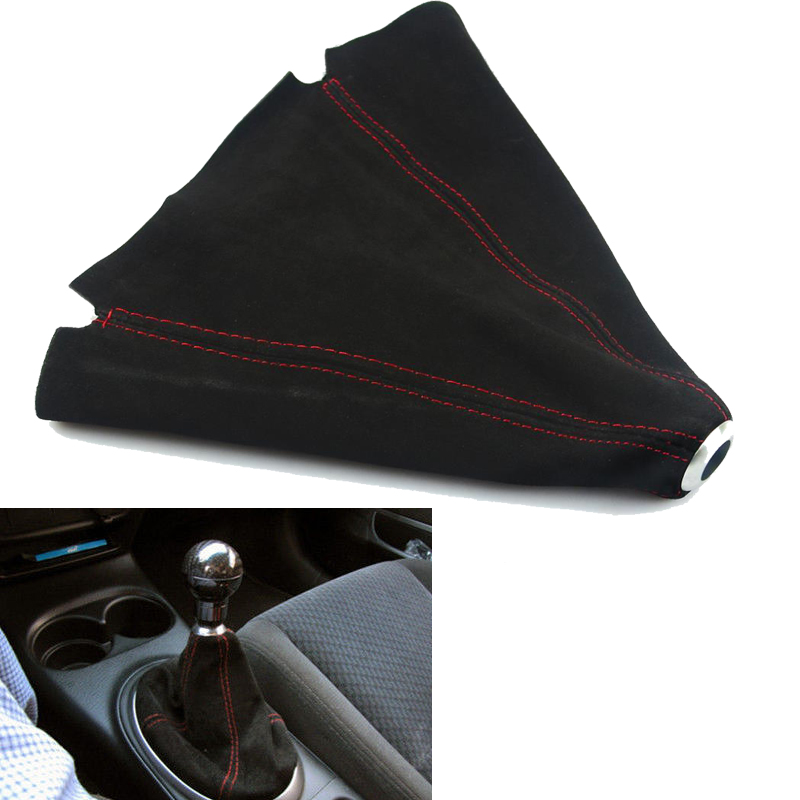 Suede leather Red/Blue JDM Stitch Shift Knob Shifter Boot Cover MT/AT for VW Audi Mercedes Benz Toyota BMW