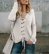 2019 autumn and winter women's sweater sexy knit sweater V-neck cardigan lacing sweater v neck bib zippered knit sweater