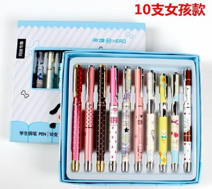 Hero Cartoon Fountain Pen for Children to Writing Student Stationery Set Gift Pens Free Shipping Nib 0.38mm authentic hero 9316 fountain pen ink pen iraurita nib 0 5mm calligraphy pen student stationery office business gift box set