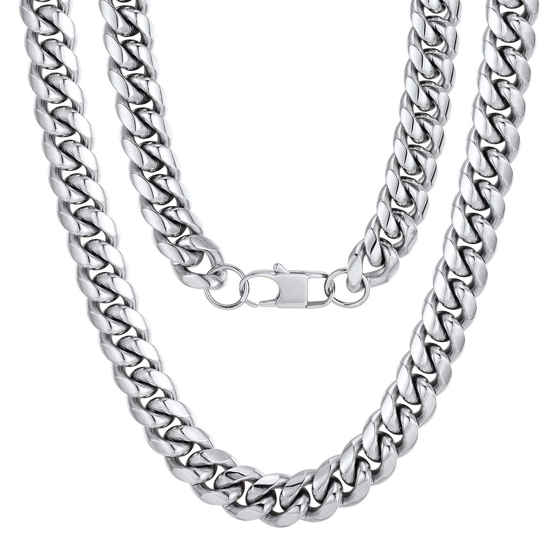 Men Chunky Miami Cuban Chain Necklace silver plasted 6 9 14mm Width 18 20 22 24