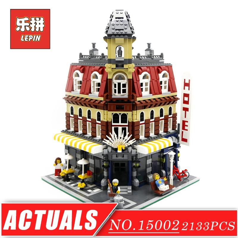 LEPIN 15002 Street View Series Cafe Corner DIY Set Model Building Kits Blocks Bricks Children Toys Christmas Gift Brinquedos lepin 01006 5491pcs street view series toys