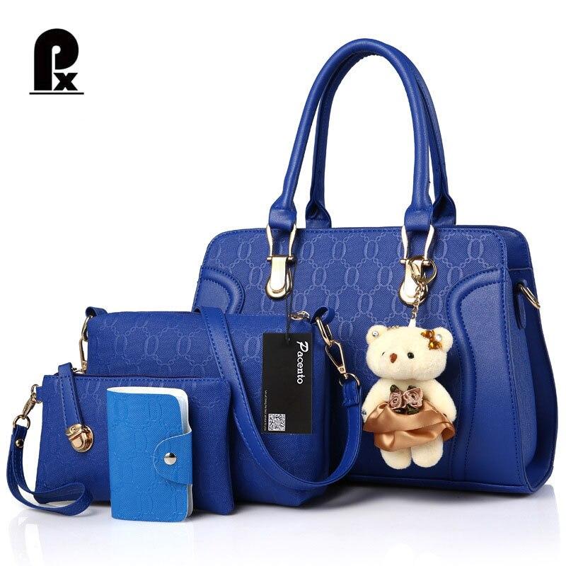 2017 Luxury Brand 4 PCS font b Set b font Women Bag Composite Bag Leather font