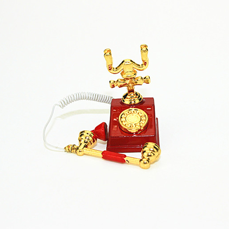 1:12 Miniature Phone Model Alloy Vintage Retro Rotary Telephone Dollhouse Decoration Accessories 998