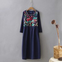 Spring Section Arts Fan Embroidery Flax Retro National Wind Cotton Linen Dress Long Section Women Long