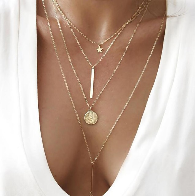 brixini.com - Star, Bar and Coin Women Necklace