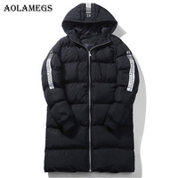 Aolamegs Winter Jacket Men Solid Thick Pocket Mens Long Parkas Plus Size Down Jacket Stand Collar