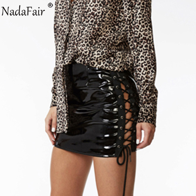 7fa01cef2489b ForeFair Sexy Side Lace-Up Shiny Faux Leather Skirt Black Mini Pencil Skirts  Women