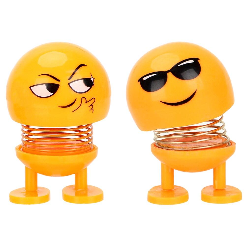 Auto Decors Funny Spring Toy Emoji Shaker Interior Accessories Car Ornaments Shaking Head Doll
