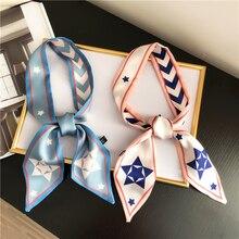 5x95CM small fluttering twill silk scarf for women Korean tie scarf neckerchief scarfs for ladies striped neck scarf Bag strap striped scarf tote bag 3pcs