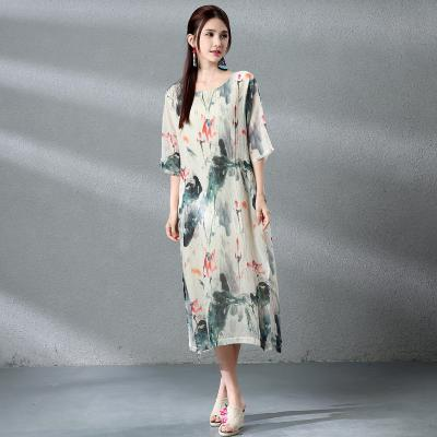Chinese Painting Summer Dress Women Linen Long Maxi Dress Retro Ethnic  Dresses Lotus Pattern Loose Casual Dress Straight Vestido US  27.74 e40be64fa3d8