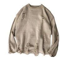 Rlyaeiz Новый мужской свитер 2018 осенне-зимний пуловер мужская мода полые отверстия Свободные трикотажные мужские свитера Sueter Hombre