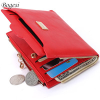 New Top Brand Fashion Zipper PU Leather Coin Card Holder Photo Holders Women Purse Wallet Female