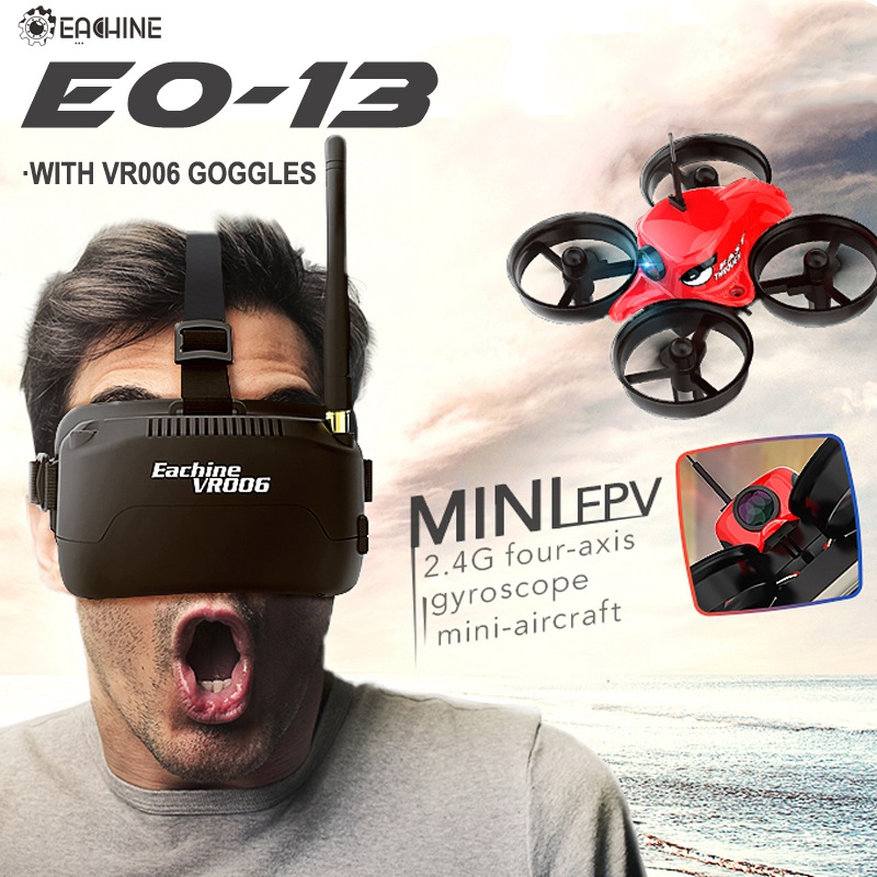 Eachine E013 Micro FPV Racing Drone Quadcopter With 5.8G 1000TVL 40CH Camera VR006 VR-006 3 Inch Goggles Glasses Headset