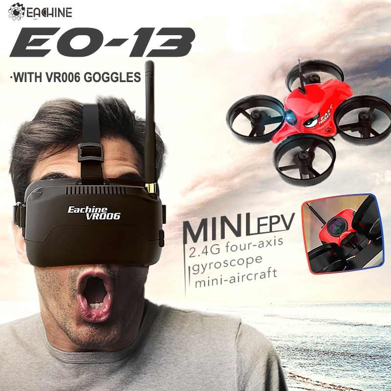 Eachine E013 Micro FPV Racing Drone Quadcopter Met 5.8G 1000TVL 40CH Camera VR006 VR-006 3 Inch Goggles Bril Headset