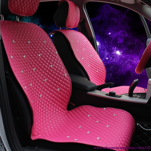 Leather Auto Covers Crystal Rhinestone Styling Interior Accessories Online Ladycrystal General Car Seat Cover Pink Rose Pu