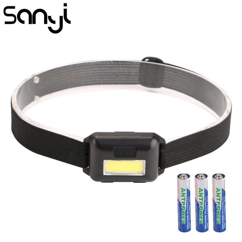 SANYI 2000 LM Mini Headlight Flashlight 3 Modes Head Torch Powered By 3*AAA Battery COB LED Super Bright Headlamp For Camping