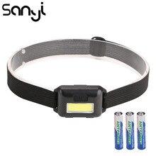 SANYI – Mini lampe de tête 2000 LM alimentée par 3 piles AAA, torche, avec 3 modes, très lumineuse, LED COB, pour le camping
