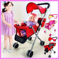 Iron Baby Toys Stroller For Girls Play Pushchair Walkers Children Stroller For Dolls Umbrella Pram 2