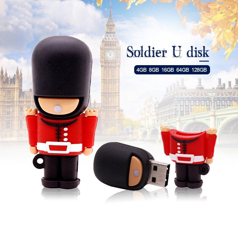 New Hot USB Flash Drive Pendrive Handsome British Guard Cartoon Pen Drive 4GB 8G 16G 32G 64GB Usb 2.0 Memory Stick Free Shipping