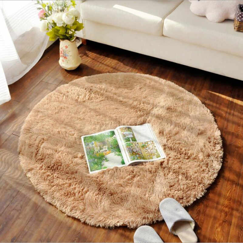 Anti Slip Faux Fur Area Rug Round