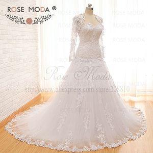 Image 2 - Vestido de boda de cintura baja encaje de Venecia de alta calidad con chaqueta de encaje de manga larga extraíble Corset Back Ball Gown fotos reales