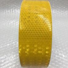 5 cm x 50 mt Gelb/Weiß Reflektierende Warnband mit Farbe Druck für Auto