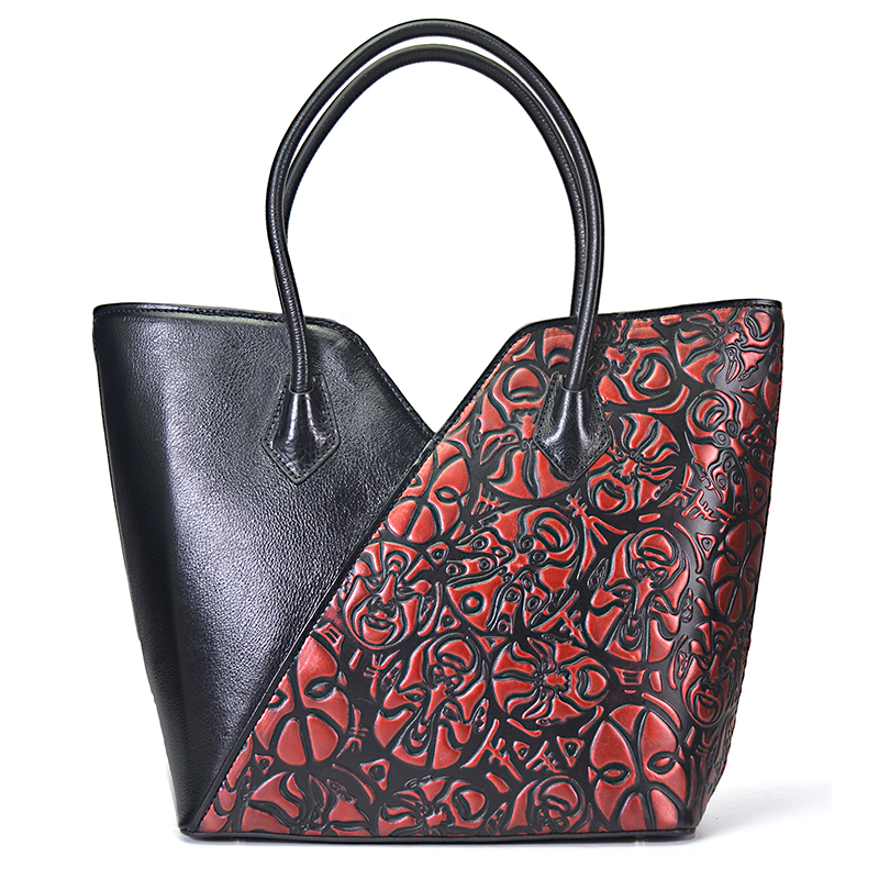 Women 100% Natural Skin Single Shoulder Tote Handbag Genuine Leather Chinese Style Female Cross Body Messenger Top Handle Bags