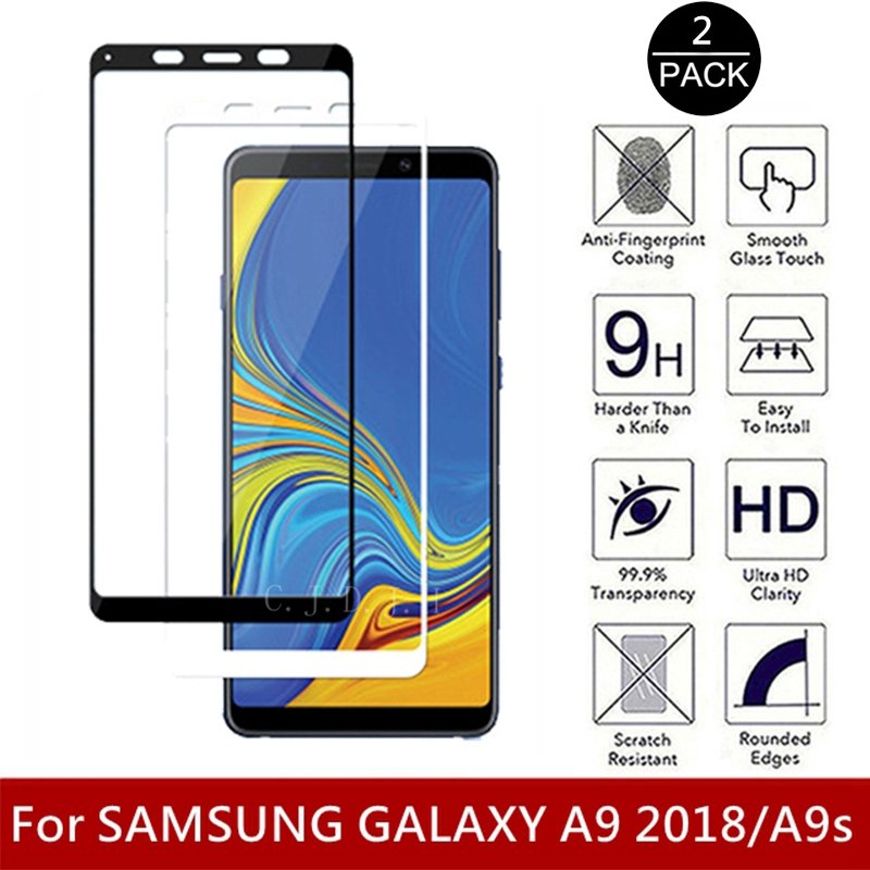 2Pcs Tempered Glass For Samsung Galaxy A9 2018 Full Cowl Display Protector 9H 2.5D Cellphone On Protecting Glass For A9S Glass