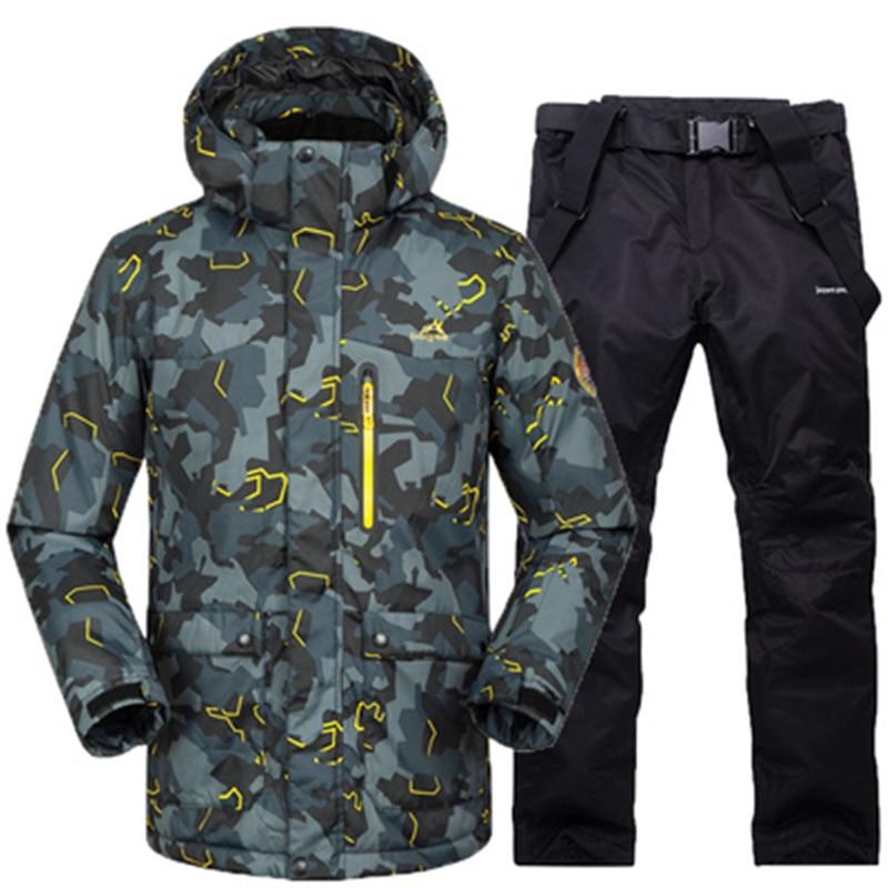 Men Ski Jacket+Pant Windproof Waterproof Outdoor Sport Wear Super Warm Snowboard Skiing Suit Thicken Outdoor Sport Wear Suit Set