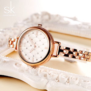 Image 4 - Shengke Merk Quartz Horloges Fashion Horloges Vrouwen Casual Jurk Luxe Gold Dames Rhinestone Waterdicht Reloj Mujer 2020