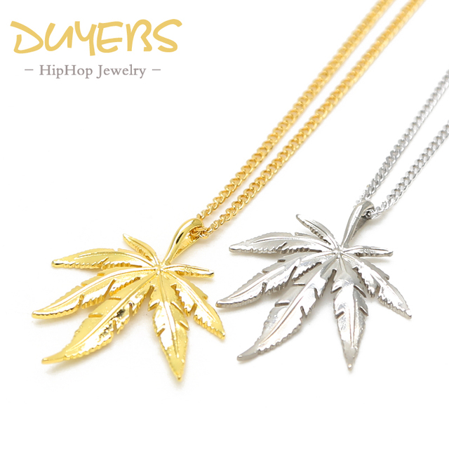 Duyebs hemp leaf plant necklaces pendants hiphop 60cm long chain duyebs hemp leaf plant necklaces pendants hiphop 60cm long chain titanium steel goldsilver aloadofball Images