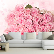 Custom Photo Wallpaper Romantic Wedding Flowers Korean Bedside Living Room Background Pink Rose H420
