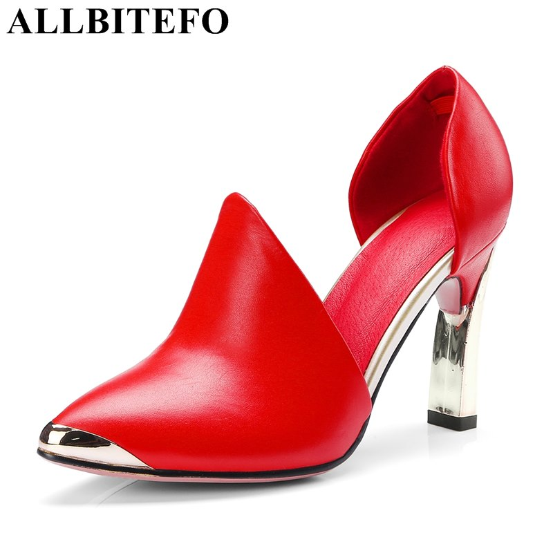 ALLBITEFO full genuine leather pointed toe women pumps metal toe wedding shoes spring pumps high heels girls high heel shoes allbitefo fashion sexy thin heels pointed toe women pumps full genuine leather platform office ladies shoes high heel shoes