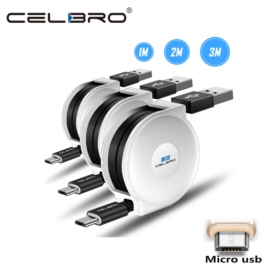 Android <font><b>Charger</b></font> <font><b>Cable</b></font> Cord Retractable <font><b>Micro</b></font> <font><b>Usb</b></font> Data <font><b>Cable</b></font> Cabel 3 <font><b>2</b></font> <font><b>Meter</b></font> Kablo <font><b>For</b></font> Huawei Honor 8x 4c Xiaomi Redmi Note 5 Pro image