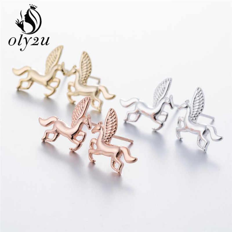 oly2u Punk Unicorn Pegasus Cute Flying Horse 3D Stud Earrings for Women Cute Animal Horse Stud Earrings Jewelry oorbellen Gift