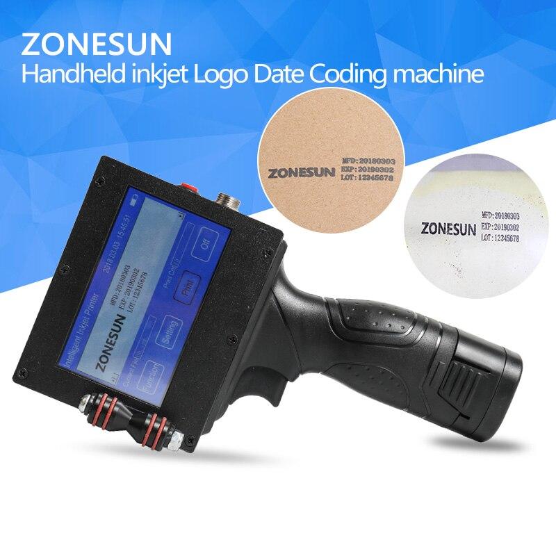 ZONESUN Handheld LightWeight Inkjet Printer Ink Date Coder Coding machine LED Screen Display For Trademark Logo Graphic цена