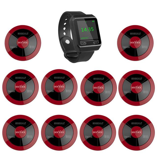 SINGCALL Wireless Calling System ,coffee shop, restaurant,hotel,tea house,1 watch pager plus 10 multy function waterproof button