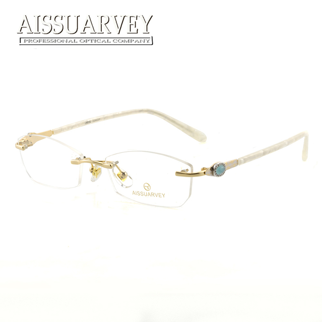 483f928025 Titanium Women Glasses Frames Rimless Eyewear Fashion Eyeglasses Optical  Prescription Elegant Rhinestone Diamond Goggles Design